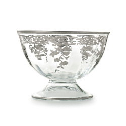 Vetro Silver Large Footed Bowl