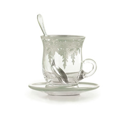 Vetro Silver Cup & Saucer with Spoon, 4pk