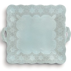 Merletto Aqua Square Platter with Handles