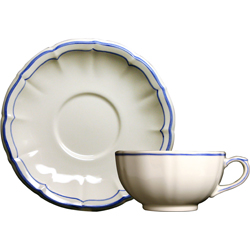 FILETS BLEU BREAKFAST CUPS & SAUCERS, BOXED SET OF 2