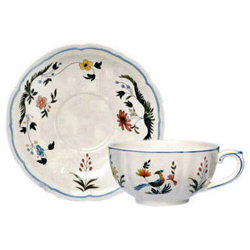 OISEAUX DE PARADIS  LOW TEA CUPS & SAUCERS, BOXED SET OF 6