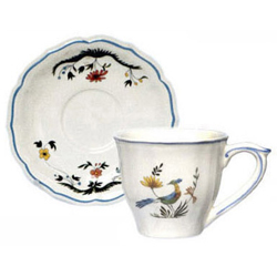 OISEAUX DE PARADIS  U.S. TEA CUPS & SAUCERS, BOXED SET OF 6