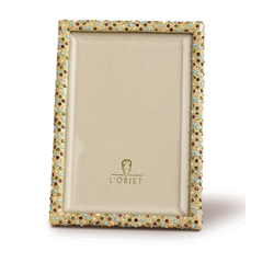 MULTI COLOR CRYSTALS ON GOLD PLATED RECTANGULAR FRAME - 8X10 photo