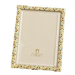 MULTI COLOR CRYSTALS ON GOLD PLATED RECTANGULAR FRAME - 4X6 photo