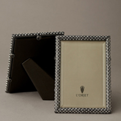 Noir Oxidized Platinum Rectangular Frame 2x3 In Rectangular Pave