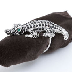 PLATINUM CROCODILE WITH BLACK SWAROVSKI CRYSTALS - SET OF 4 photo