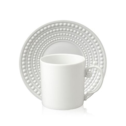 PERLEE WHITE ESPRESSO CUP & SAUCER photo