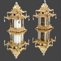 GOLD PLATED PAGODA WITH SWAROVSKI CRYSTALS AND FRESH WATER PEARLS - SALT & PEPPER SHAKERS photo