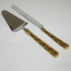 Truro Gold Cake Knife and Server Set