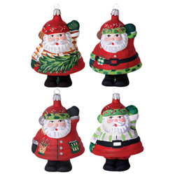 SET OF 4 Old St. Nick Assorted Santa Shaped Ornaments