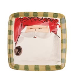 Old St. Nick Square Salad Plate - Red