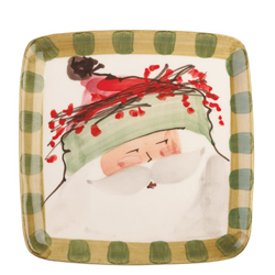 Old St. Nick Square Salad Plate - Green