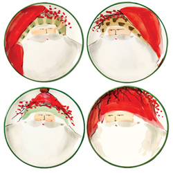 SET OF 4 Old St. Nick Assorted Canape Plates