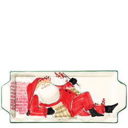Old St. Nick Handled Rectangular Platter - Santa