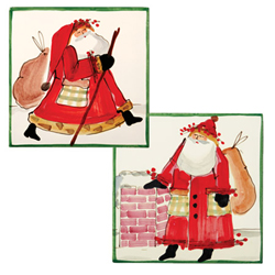 SET OF 2 Old St. Nick Assorted Square Trivet