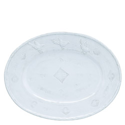 BELLEZZA SKY BLUE LARGE OVAL PLATTER, W/BIRDS