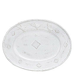 BELLEZZA WHITE LARGE OVAL PLATTER, W/BIRDS