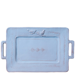 Bellezza Sky Blue Handled Rectangular Platter