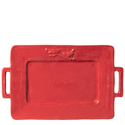 Bellezza Tomato Red Handled Rectangular Platter