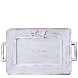 BELLEZZA WHITE HANDLED RECTANGULAR PLATTER
