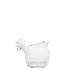 BELLEZZA WHITE SMALL PITCHER W/ ROOSTER HEAD HANDLE