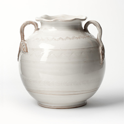 BELLEZZA WHITE ROUND HANDLED VASE