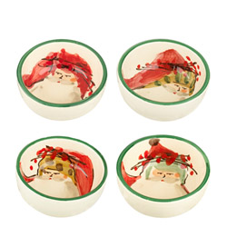 SET OF 4 Old St. Nick Asst Condiment Bowls