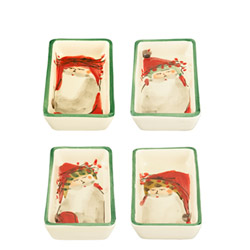 SET OF 4 Old St. Nick Asst Small Rectangular Dishes