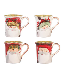 SET OF 4 Old St. Nick Asst Mugs