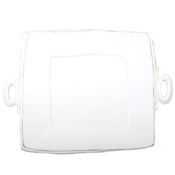 LASTRA WHITE HANDLED SQUARE PLATTER photo