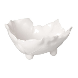 White Leaf Footed Berry Bowl