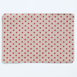 Old St. Nick Red & Natural Striped/Dot Reversible Placemat  photo