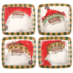 SET OF 4 Multicultural Old St. Nick Assorted Square Salad Plates
