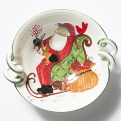 Old St. Nick Scallop Handled Bowl with Sleigh  photo