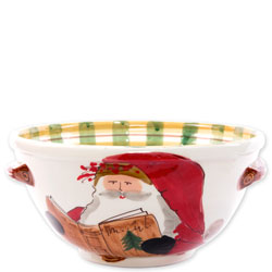 Old St. Nick Handled Medium Bowl with Santa Reading photo