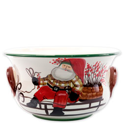 Old St. Nick Footed Round Cachepot with Sleigh photo
