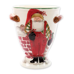 Old St. Nick Footed Urn with Chimney & Stockings photo