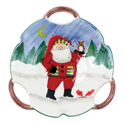 Old St. Nick Handled Scallop Bowl - Santa w/ Owl photo