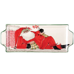 Multicultural Old St. Nick Handled Rectangular Platter - Santa