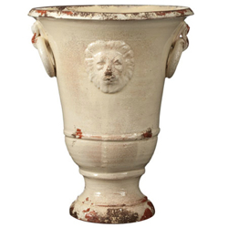 Rustic Garden Large Cream Lion Planter