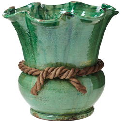 Rustic Garden Green Scalloped Cachepot with Rope