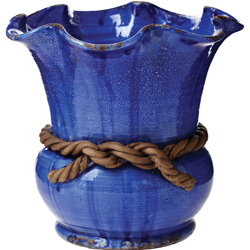 Rustic Garden Cobalt Scalloped Cachepot with Rope