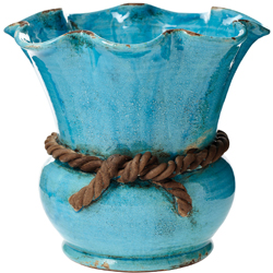 Rustic Garden Turquoise Scalloped Cachepot with Rope