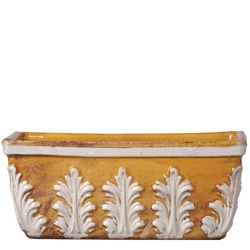 Rustic Garden Amber with White Leaves Rect Planter