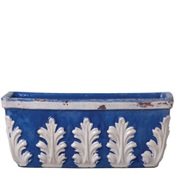 Rustic Garden Cobalt With White Leaves Rect Planter