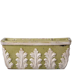 Rustic Garden Pistachio With White Leaves Rect Planter