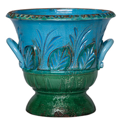 Rustic Garden Blue/Dark Green Handled Planter