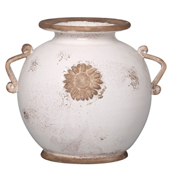 Rustic Garden Medium White Round Vase