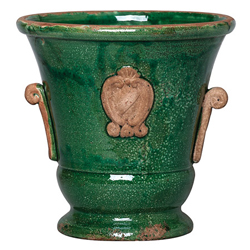 Rustic Garden Medium Green Handled Planter