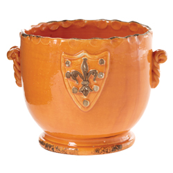 Rustic Garden Terrace Orange Cachepot with Emblem